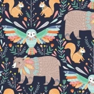 Boho Meadow Fabric D1375 Navy