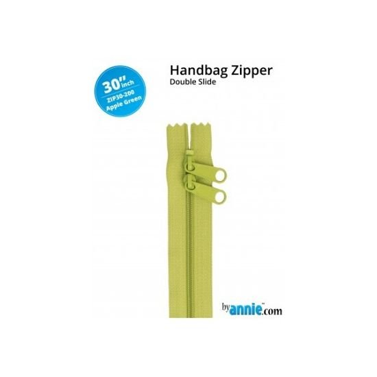 "by annie Double Slide Handbag Zipper Apple Green 30"" ZIP30-200"