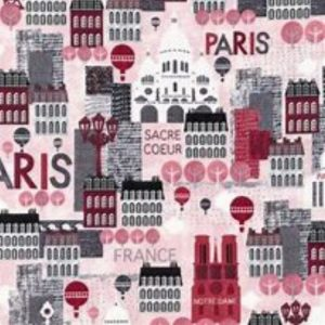 Hello Paris Cotton Fabric 14484-10-Pink