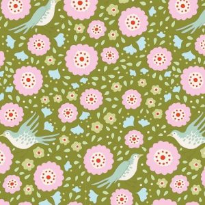Tilda Birdpond Lovebirds Green Fabric 100094