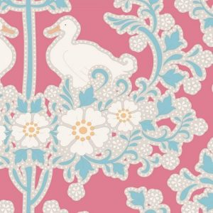 Tilda Plum Garden Duck Nest Peach Fabric 100183