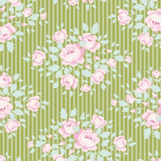 Tilda Happy Campers Marylou Green Fabric 100239