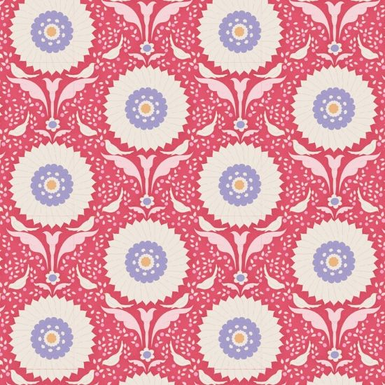 Tilda Bon Voyage Ringflower Red Fabric 100251