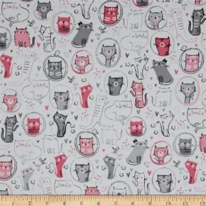 Whiskers & Tails Cotton Fabric 15374-287 Sweet