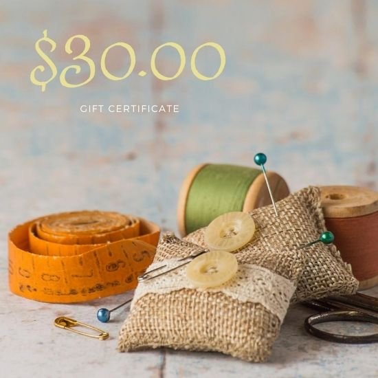 $30.00 Gift Certificate to be redeemed at Fabric Sauce