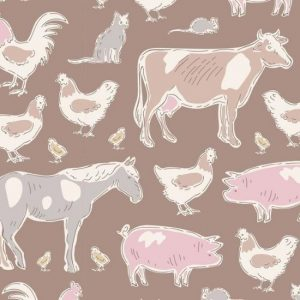 Tilda Tiny Farm Animals Brown 110010