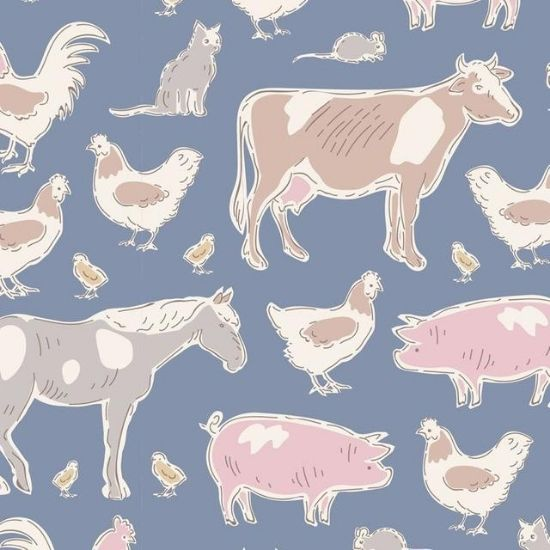 Tilda Tiny Farm Animals Blue 110013
