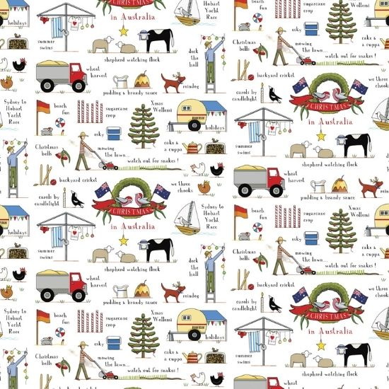 Christmas In Australia Cotton Fabric by Rachael Flynn of Red Tractor Designs DV3935
